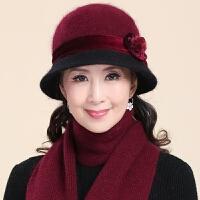 中老年帽子女冬季保暖中年兔毛针织盆帽老人老年人冬天妈妈奶奶帽