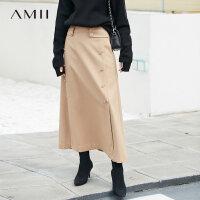 【3折价:233元/再叠优惠券】Amii[极简主义]复古双排扣羊毛半身裙2018冬新开叉宽松长裙