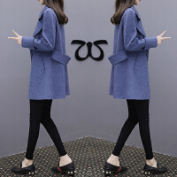 大衣中长款韩版雾霾蓝大码毛呢外套女装新款chic宽松修身春季2018新品 蓝色 腰带大衣