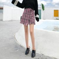 格子短裙女秋冬2018新款高腰外穿毛呢半身裙不规则冬裙包臀a字裙