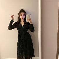 韩风V领女神小黑裙系带修身长袖连衣裙女荷叶边蛋糕长裙子
