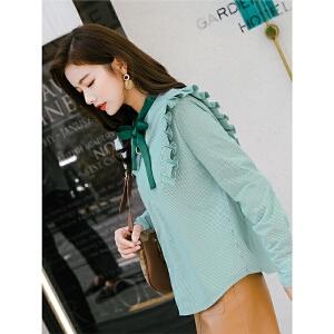 七格格加绒加厚衬衫女秋冬新款韩版竖条纹宽松小清新上衣长袖