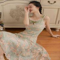 抹茶绿法国小众吊带裙长款夏款仙气超仙森系小清新连衣裙碎花 抹茶绿开洞版 开洞版