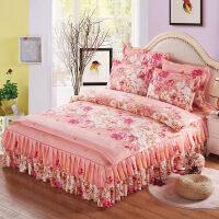 床罩床裙四件套床上用品床裙款带花边公主风粉床上四件套冰丝
