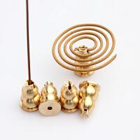 铜葫芦香插檀香沉香盘香线香两用支架 香炉支架底座