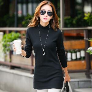 秋季新款韩版修身中长款半高领长袖T恤女纯棉外穿上衣