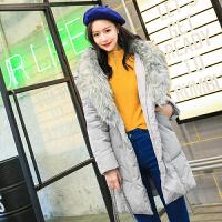 中长款羽绒服女冬季2018新款韩版百搭潮宽松学生连帽毛领收腰外套