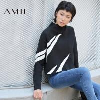 AMII[极简主义]冬女新品立领长袖撞色纹针织短款毛衣11682401