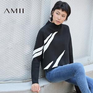 【品牌团 1件7折/2件5折】AMII[极简主义]冬女新品立领长袖撞色纹针织短款毛衣11682401