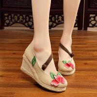 新款亚麻老北京布鞋女鞋坡跟凉鞋鱼嘴绣花单鞋民族风复合底高跟鞋