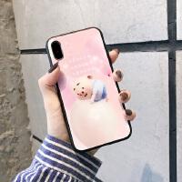 �W�t卡通�i小屁iPhone6s手�C��7p/8plus玻璃XR�O果XS MAX��た��