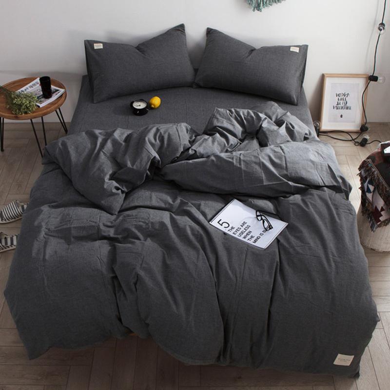 北欧水洗棉四件套全棉纯棉被子被套床单人宿舍三件套床上用品4 主图款 M水洗棉布标款-低调灰 四件套床单款2.0m(6.6英尺) 适合220X