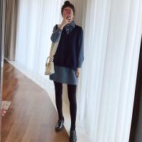 2018春季新款小个子复古修身毛毛领衬衫针织马甲套装时尚2018新品 蓝色