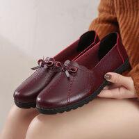 妈妈鞋软底女低帮舒适女鞋春奶奶中老年皮鞋老人鞋平底单鞋子
