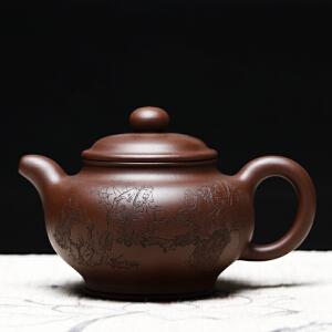 全手工精品掇只 工艺师储国峰刻 工艺美术员蒋志超 紫泥 710cc
