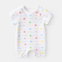 新生儿女宝宝衣服公主衣0-3个月哈衣夏季婴儿连体衣纯棉短袖爬服