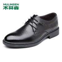 木林森男鞋 春秋新款男士商务皮鞋男系带英伦尖头办公室皮鞋77053104