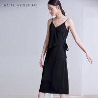 [东方极简]2018夏新款女装中裙吊带v领无袖连衣裙女