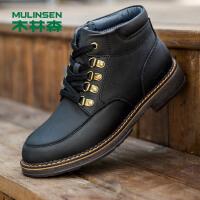 木林森男靴 冬季新款男士皮靴加绒加厚保暖牛皮鞋商务短靴男鞋冬鞋78054029