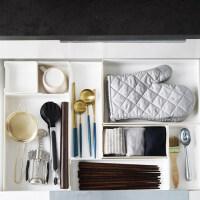 厨房抽屉分隔盒收纳整理盒柜子白色隔板自由组合筷子刀叉餐具分格分类小