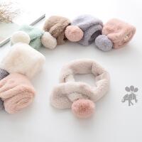 冬季韩版毛毛球儿童围巾男女宝宝毛绒围脖儿童围巾