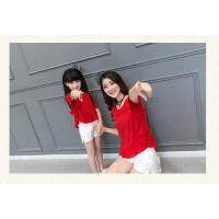 新款潮休闲套装韩版宽松上衣短裤两件套亲子装夏装母女装夏季 可礼品卡支付