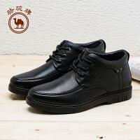 骆驼牌男鞋 新品绒毛内里保暖男皮靴舒适柔软真皮男靴子