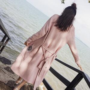 谜秀 针织衫开衫女中长款2017秋装新款女装韩版收腰系带毛衣外套