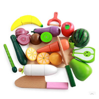 切切看木质儿童磁性仿真切菜过家家套装宝宝切水果蔬菜切切乐玩具