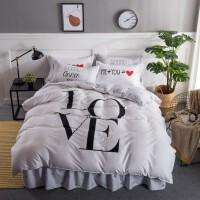 全棉活性印花床上用品四件套 纯棉床罩床裙 大版床裙四件套