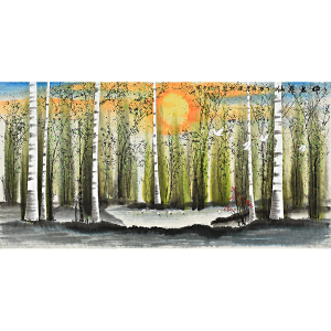 中国山水画创作院画家 梁红先《桦林飞仙》SS2336