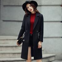 韩版字母中长款毛呢外套女时尚气质翻领呢子大衣