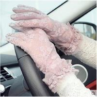 新款蕾丝花边分指防晒手套 夏天开车防滑防紫外线手套女