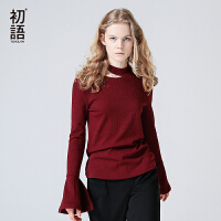 【初语大牌日】折 初语 秋装上新 领口镂空喇叭袖纯色长袖T恤