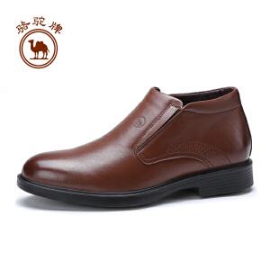 骆驼牌男靴  冬季高帮休闲皮鞋套脚舒适耐磨男鞋