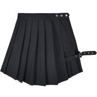 朋克风女装暗黑系性感腿环裙百褶裙高腰短裙夏不规则半身裙黑暗系 黑色