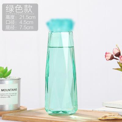 创意炫彩钻石玻璃水杯商务杯子带盖礼品盒随手杯  501-600ml