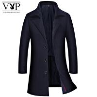 花花公子贵宾男士秋冬新款修身毛呢外套男装时尚休闲西装领商务呢子外套