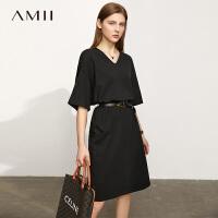 【2件3折156元,再叠90/70/30元礼券】Amii极简小众设计感冰瓷棉黑色连衣裙女2021夏季新款V领镂空裙子