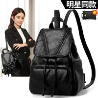袋鼠正品双肩包女2018新款韩版女士软皮包包大书包大容量背包真皮