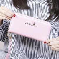 新女士钱包长款韩版拉链皇冠小清新手拿手机包大容量卡包零钱包 粉色 皇冠
