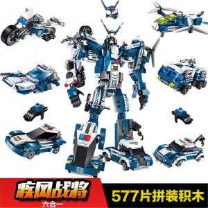 思严玩具  启蒙积木益智合体系列拼装城市警察警车儿童玩具疾风战将1407