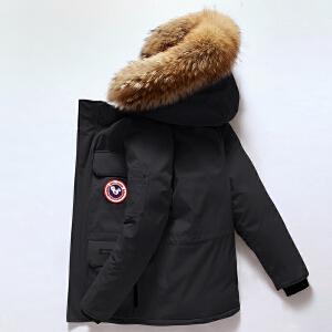 战地吉普北美风格羽绒服男潮短款新款冬季大鹅雪咒加厚学生工装情侣外套