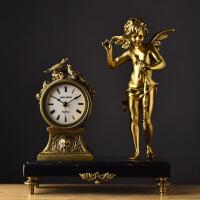 丘比特欧式装饰欧美钟表铜制壁炉法国台钟掌柜推荐钟座钟天使铜钟 如图