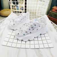新款网面水钻厚底松糕坡跟镂空系带老爹鞋运动鞋小白鞋女鞋 白色