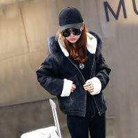 羊羔毛牛仔外套女加绒加厚2018冬季新款韩版宽松短款chic流行 黑色
