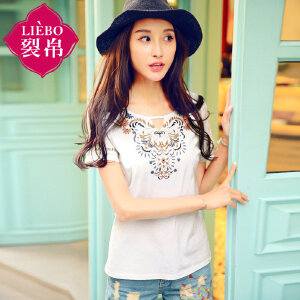 裂帛女装2018夏装新款圆领刺绣短袖套头衫镂空直筒针织T恤