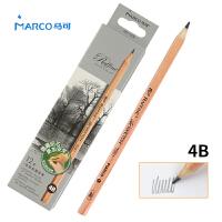 MARCO/马可 7001-12CB 高级绘图铅笔12支装/4B 原木杆初学者素描笔专业美术用品画材套装速写笔儿童全灰