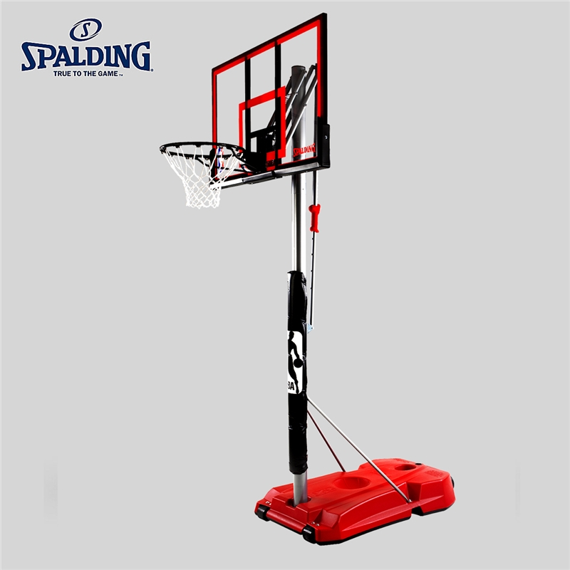 斯伯丁正品篮球架室外家用学校落地可移动便携式篮架训练器材75734篮板 【52英寸】按钮调节篮球架