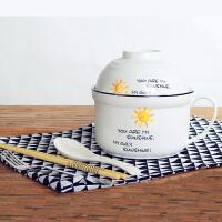 泡面碗 创意可爱卡通陶瓷泡面碗学生带盖大号餐具套装家用饭盒可爱宿舍碗勺筷叉